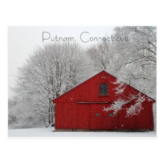 Snowy Red Barn Putnam, Connecticut Postcard