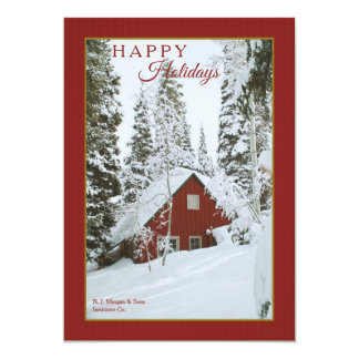 Snowy Red Cabin Holiday Card