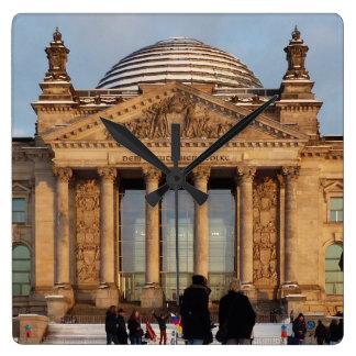 Snowy Reichstag_001.3.3 (Reichstag im Schnee) Square Wall Clock