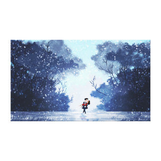 Snowy Romantic Couple Art My Hero Extra Large Stretched Canvas Print
