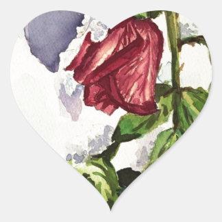 Snowy rose heart sticker