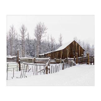 Snowy Rural Barn Scene Photograph Acrylic Print