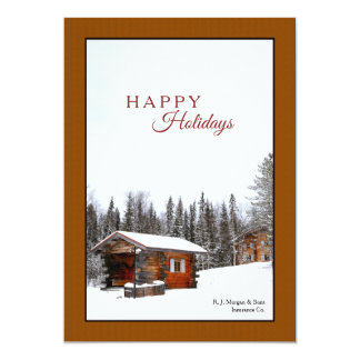 Snowy Rustic Cabin Holiday Card