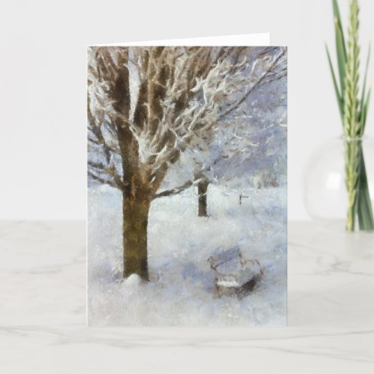 Snowy Scene - Bench Christmas Card