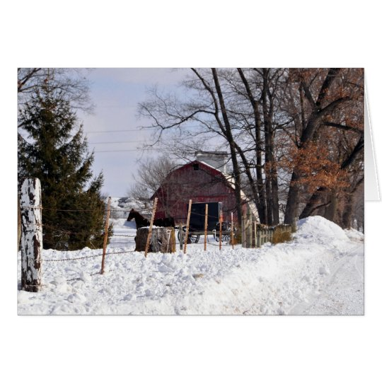 Snowy Scene in Amish Country Card