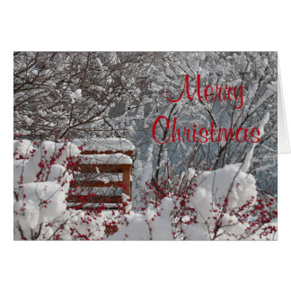 Snowy scene with winter berries greeting card