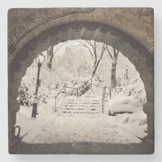 Snowy Shelter in Central Park Stone Coaster