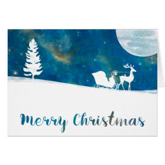 Snowy Sleigh Ride Aurora Borealis Merry Christmas Card