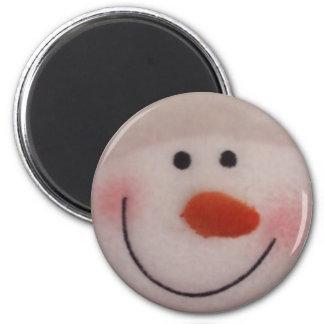 Snowy Snowman 6 Cm Round Magnet