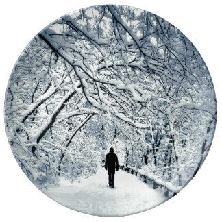 Snowy Solitude Porcelain Plate