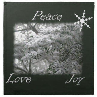 Snowy Spruce Tree / Peace Love Joy Napkin