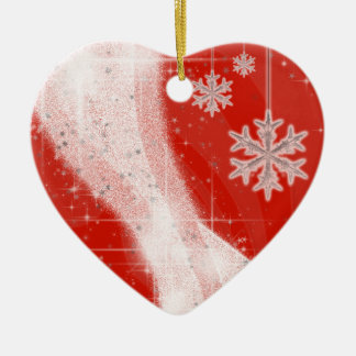 Snowy Star Ribbon (choose your color) customize Ceramic Heart Decoration