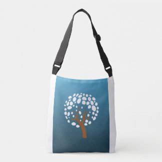 Snowy stylized tree crossbody bag