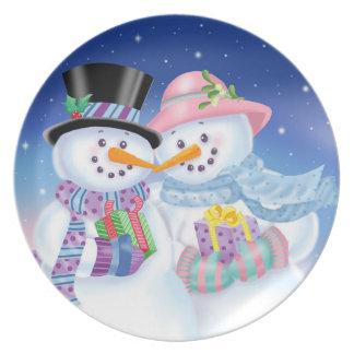 Snowy Sweethearts Melamine Plate