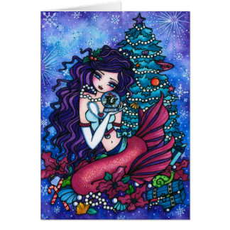 Snowy Treasures Fantasy Mermaid Orca Christmas Card
