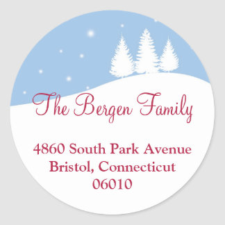 Snowy tree blue Christmas holiday address label Sticker