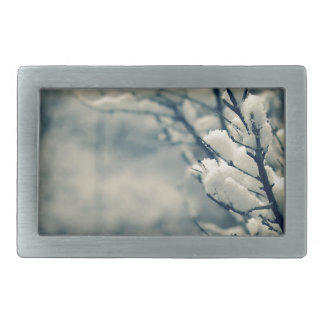 Snowy Tree Mouse Pad Rectangular Belt Buckles