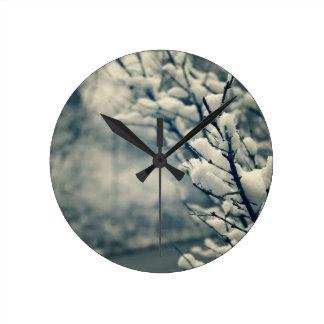 Snowy Tree Mouse Pad Round Clock