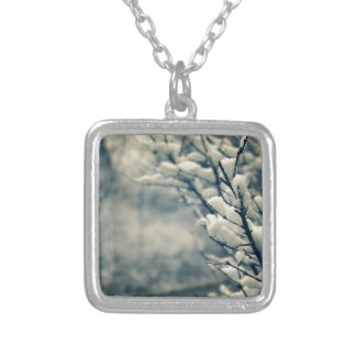 Snowy Tree Mouse Pad Silver Plated Necklace