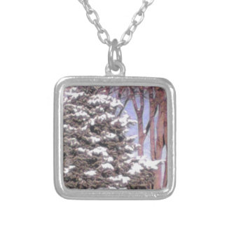 Snowy tree. square pendant necklace