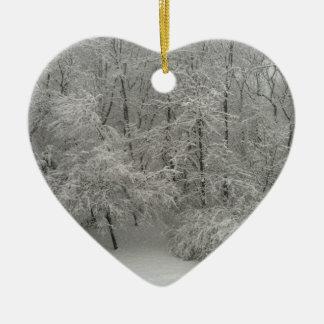 Snowy Trees Ceramic Heart Decoration