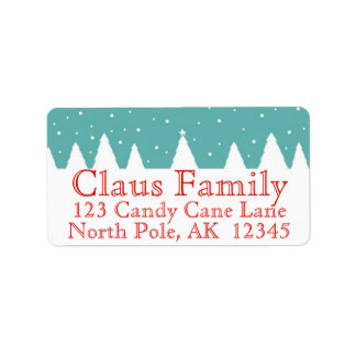 Snowy Trees Christmas Address Labels Personalize