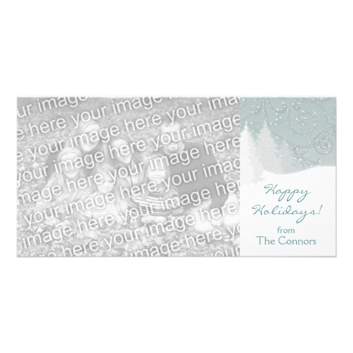 Snowy Trees Holiday Card Template Customized Photo Card