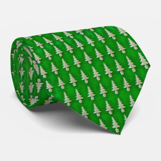 Snowy Trees on Green Tie