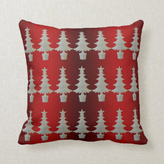 Snowy Trees on Red and Green Cushion