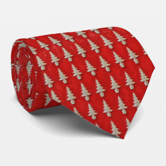 Snowy Trees on Red Tie