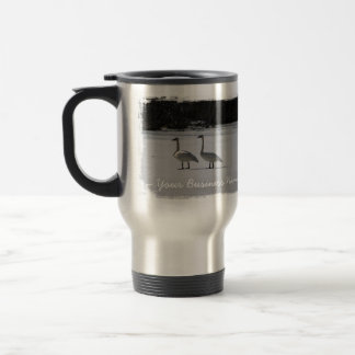 Snowy Trumpeter Swans; Promotional Travel Mug