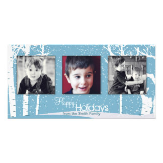 Snowy White Blue Holiday Christmas Photo Card