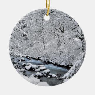 Snowy white creek scenic, Oregon Ceramic Ornament