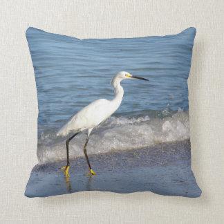 Snowy White Egret in Surf Cushion