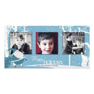 Snowy White Holiday Santa Christmas Photo Card