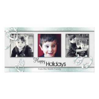 Snowy White Turquoise Holiday Christmas Photo Card