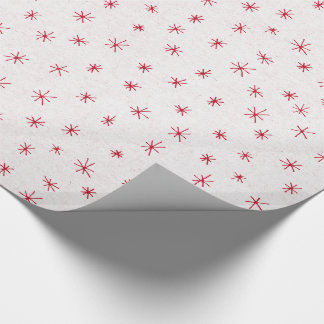 Snowy white with red sparkling stars pattern wrapping paper
