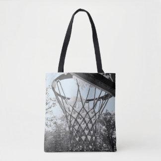 Snowy Winter Basketball Net Hoop Black and White Tote Bag