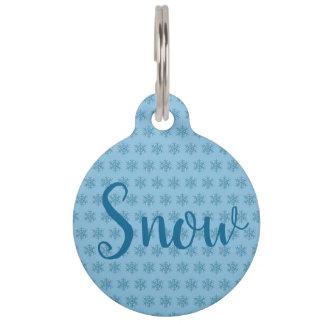 Snowy Winter Blue Snowflake Snow Flake Blizzard Pet ID Tag