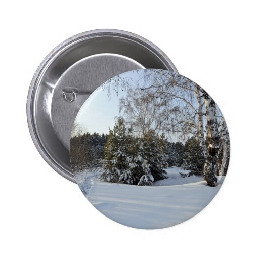 Snowy Winter Day Pinback Button