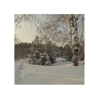 Snowy Winter Day Wood Print
