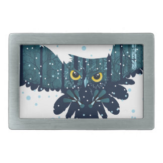 Snowy Winter Forest and Owl 2 Belt Buckles