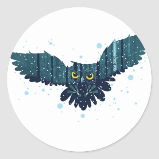 Snowy Winter Forest and Owl 2 Classic Round Sticker