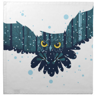Snowy Winter Forest and Owl 2 Napkin