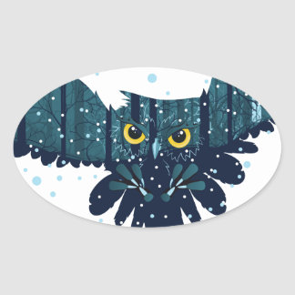 Snowy Winter Forest and Owl 2 Oval Sticker