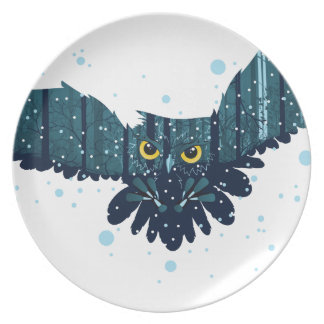 Snowy Winter Forest and Owl 2 Plate