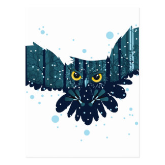 Snowy Winter Forest and Owl 2 Postcard