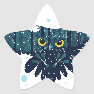 Snowy Winter Forest and Owl 2 Star Sticker