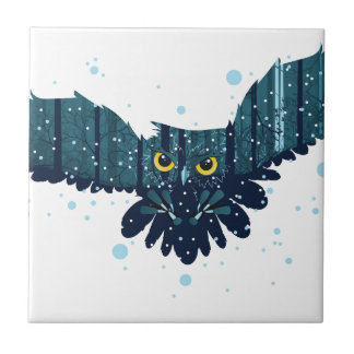 Snowy Winter Forest and Owl 2 Tile