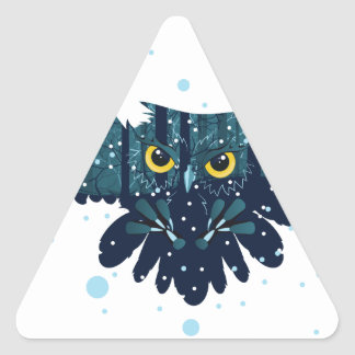 Snowy Winter Forest and Owl 2 Triangle Sticker